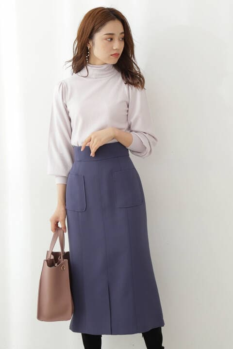 セミマーメイドカラータイトスカート