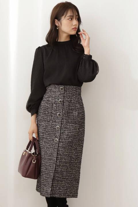 【先行予約11月下旬-12月上旬入荷予定】ツイードタイトスカート
