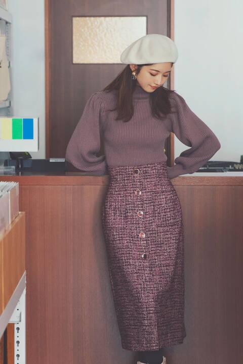 【先行予約11月下旬-12月上旬入荷予定】《堀田茜さん着用 美人百花11月号掲載商品》ツイードタイトスカート