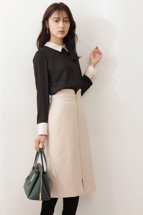 【先行予約11月下旬-12月上旬入荷予定】フロントファスナータイトスカート