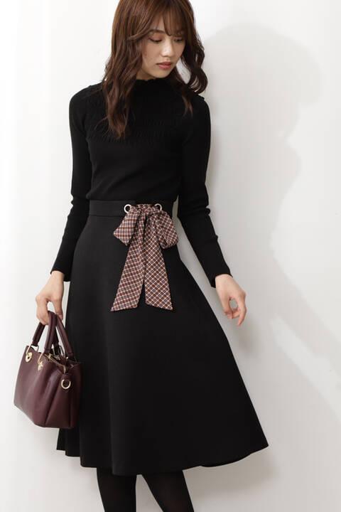【先行予約11月上旬-11月中旬入荷予定】チェックスカーフ付フレアスカート