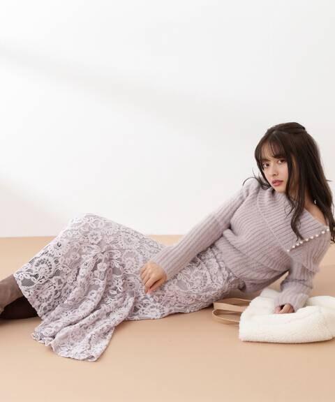 【先行予約11月中旬-11月下旬入荷予定】《EDIT COLOGNE》モールレースマーメイドスカート
