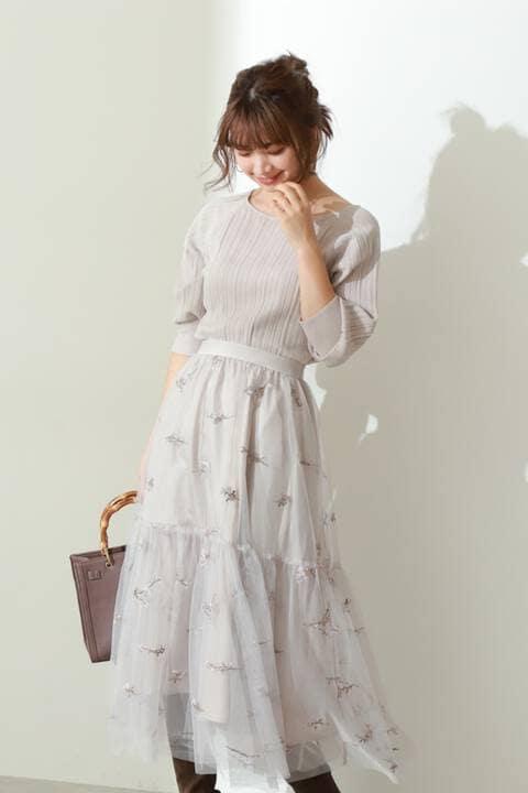 《EDIT COLOGNE》フラワー刺繍ティアードチュールスカート