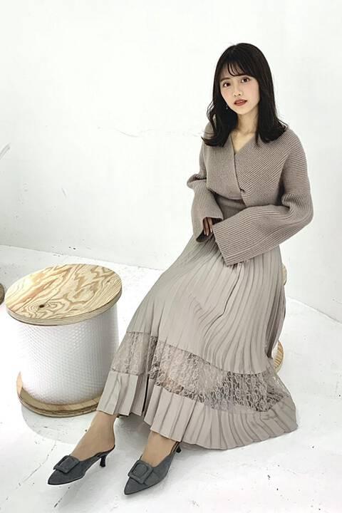 【先行予約10月中旬-10月下旬入荷予定】《EDIT COLOGNE》レース切替プリーツスカート