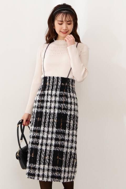 【先行予約11月上旬-11月中旬入荷予定】チェックツイードタイトジャンパースカート