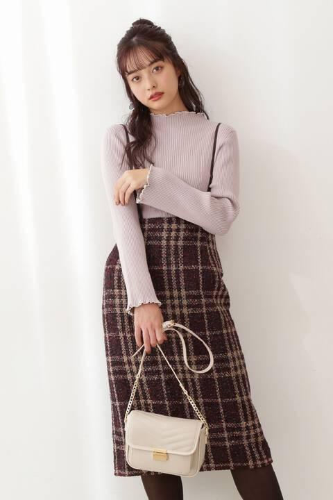 【先行予約12月下旬-1月上旬入荷予定】チェックツイードタイトジャンパースカート