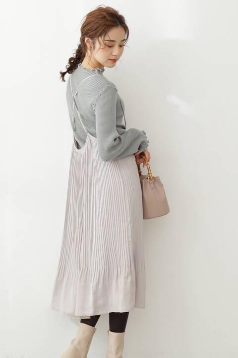 【先行予約10月上旬-10月中旬入荷予定】サテンプリーツジャンパースカート