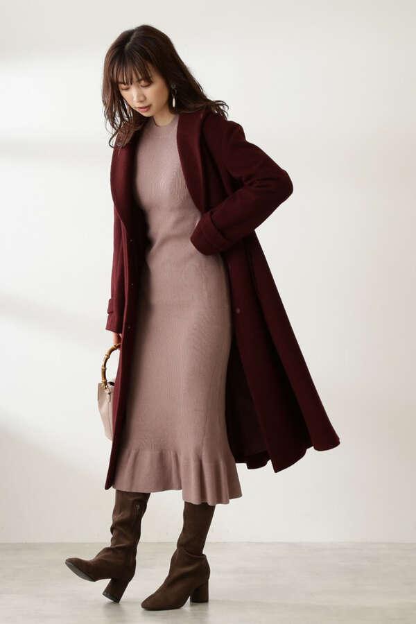 《田中みな実さん着用 美人百花11月号掲載商品》ウールブレンドロングガウンコート
