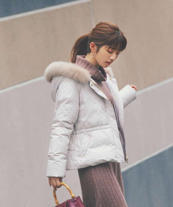 《美人百花12月号掲載商品》フードファーショートダウン