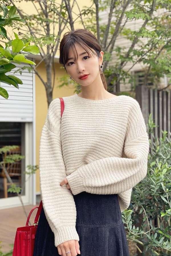 《堀田茜さん着用 美人百花11月号掲載商品》ラメガーターボリュームニット