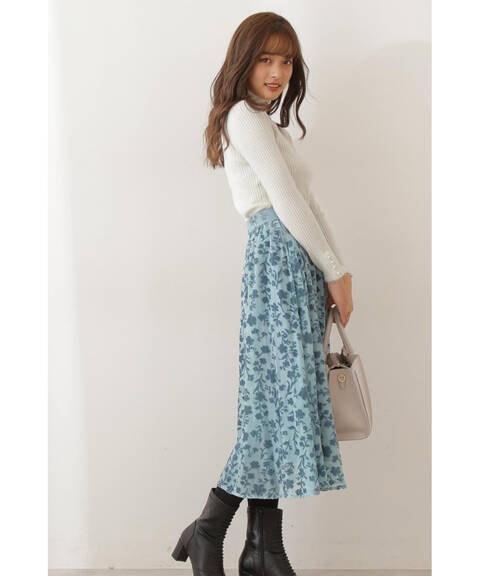 【先行予約12月上旬-12月中旬入荷予定】ベルベットフラワーオパールスカート