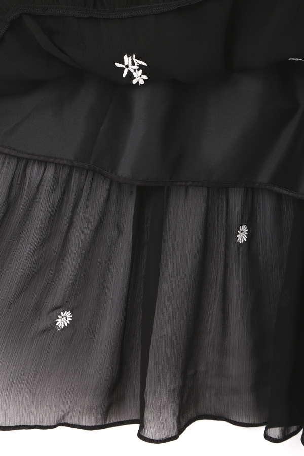 《EDIT COLOGNE》花柄刺しゅう楊柳シフォンマキシワンピース
