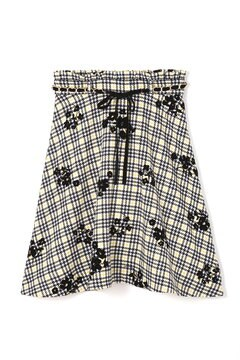 フラワーオンチェックフレアースカート