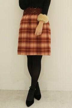 レディチェックウエストレースタイトスカート