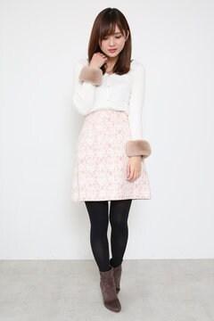 【美人百花 12月号掲載】ニードルレースチェック台形ミニスカート