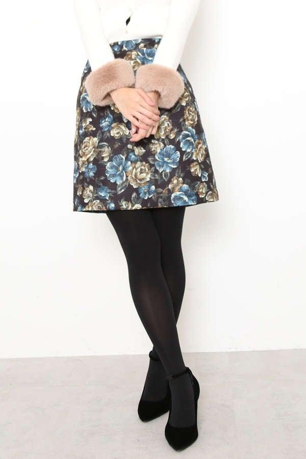 ローズゴブランプリントミニスカート