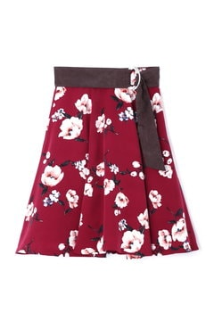 【and GIRL 10月号掲載】[TGC着用]ピーチヴィンテージフラワーベルト付フレアースカート