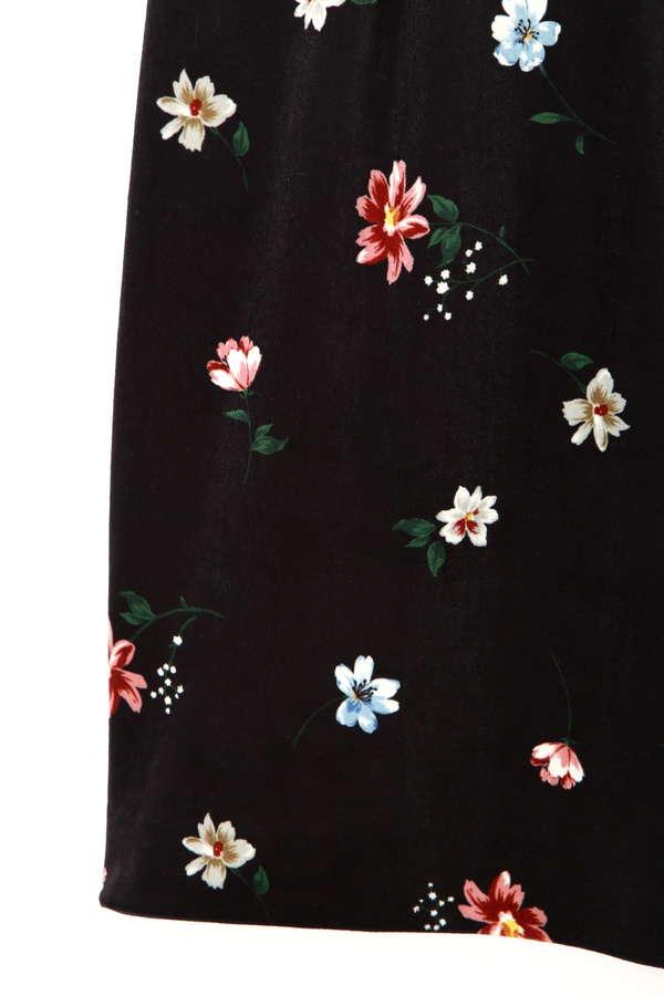 ベロアフラワープリントタイトスカート