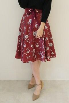 【先行予約_9月中旬入荷予定】ベルト付きフラワーブロッキングスカート