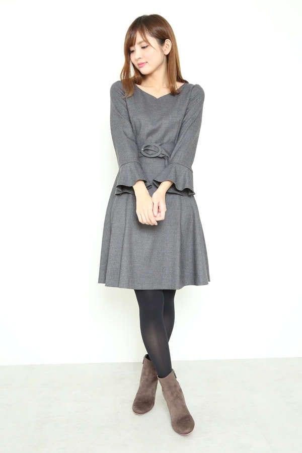 【美人百花 12月号掲載】Newカラーサッシュフレアーワンピース