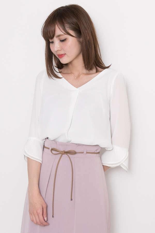 【美人百花4月号掲載】バックパールジョーゼットベルブラウス
