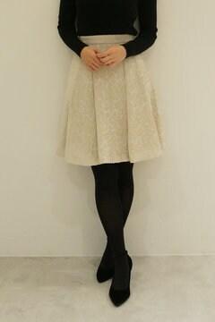 ラメモールジャガードフレアースカート