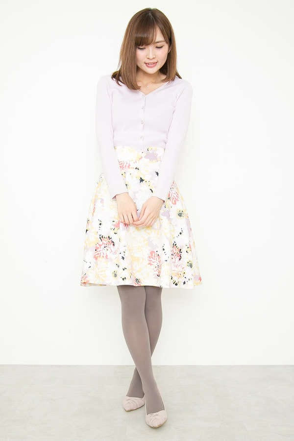 ビッグフラワージャガードプリントフレアースカート