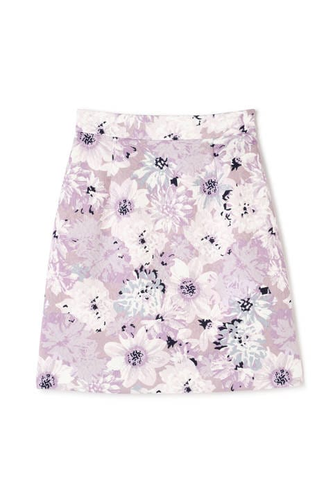 ビッグフラワージャガードプリントタイトスカート
