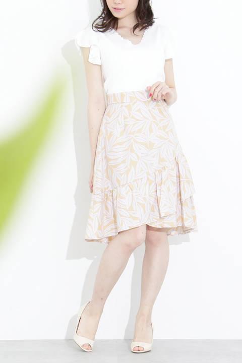 ラッフルリーフプリントスカート