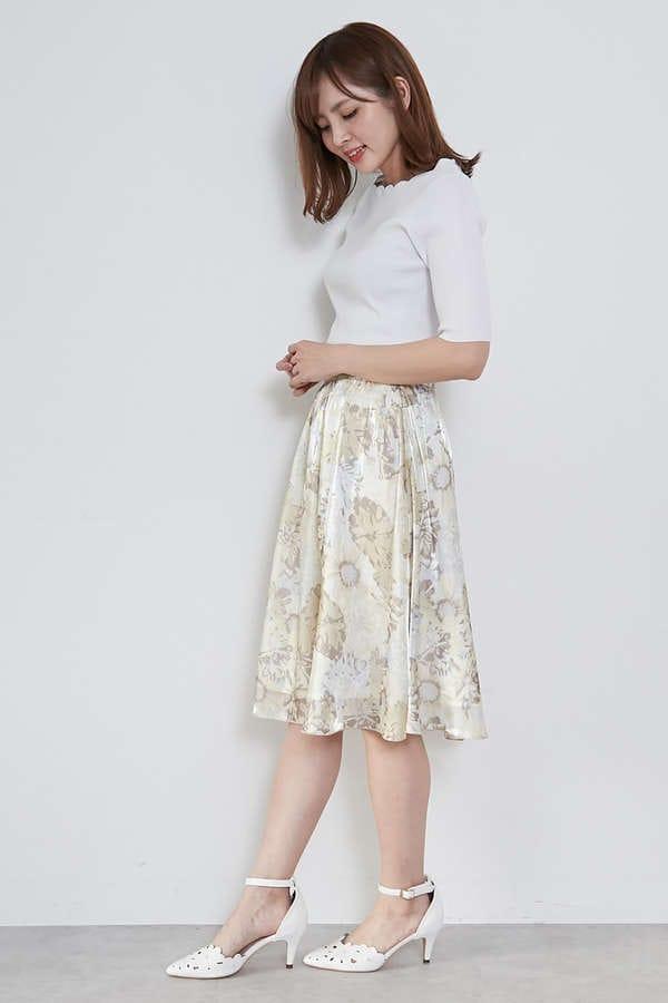 【美人百花4月号掲載】ビッグフラワーエアメタルプリントスカート