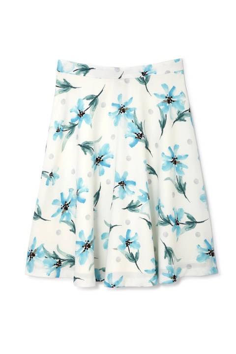 アクアフラワープリントスカート