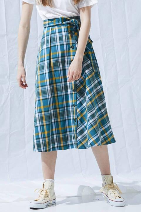 《BLANCHIC》タータンチェックフレアスカート
