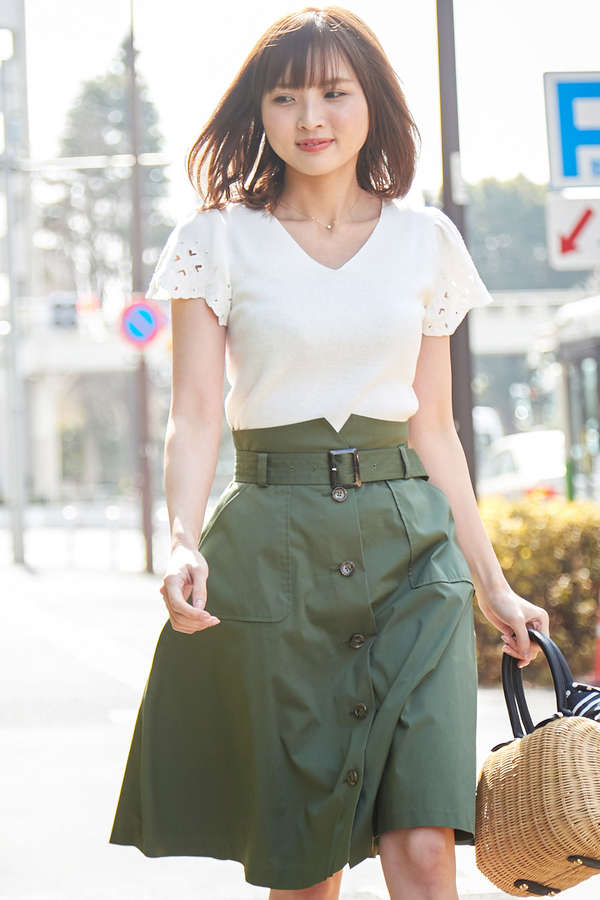 【美人百花6月号掲載】カットワークフレアーニット