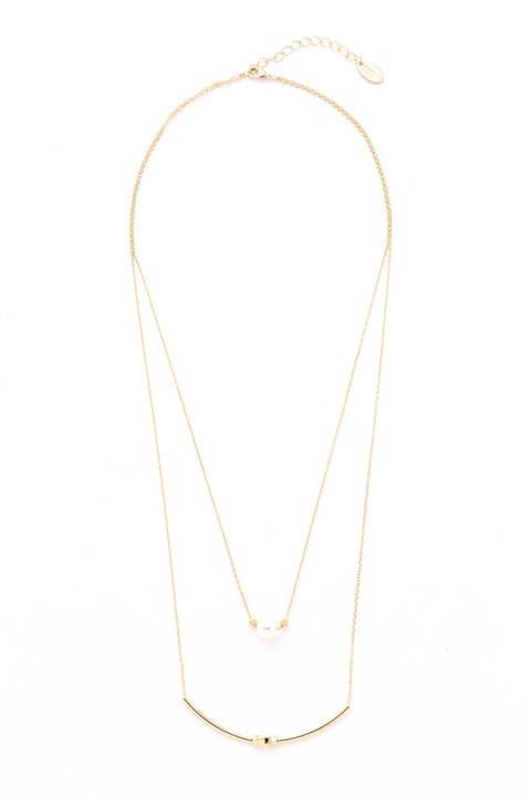プチパール2連ネックレス