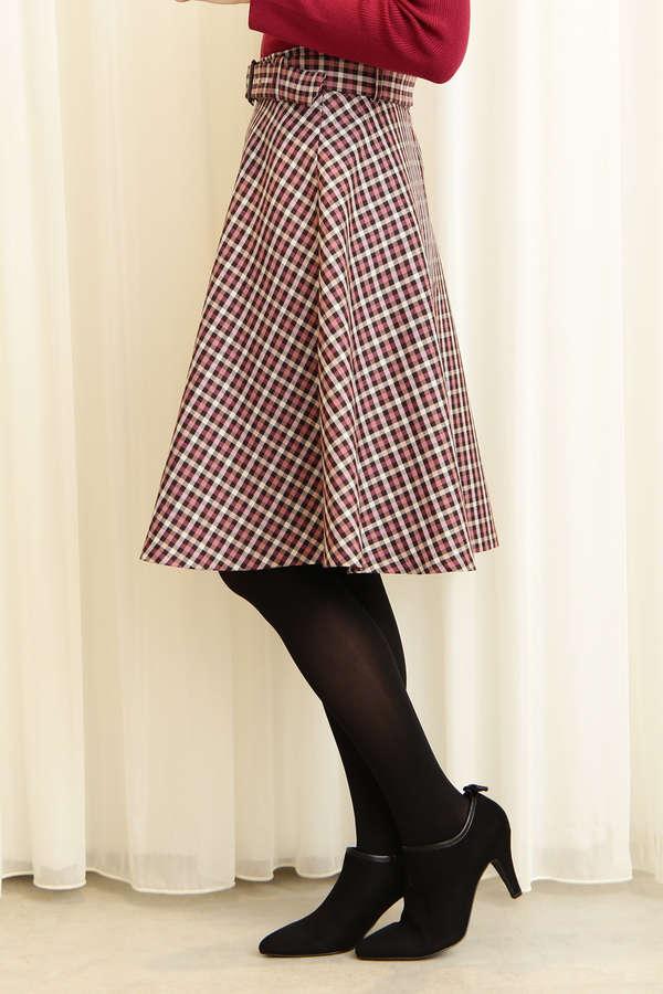 ガンクラブチェックフレアースカート