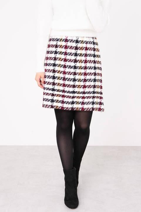 カラーチェック台形スカート