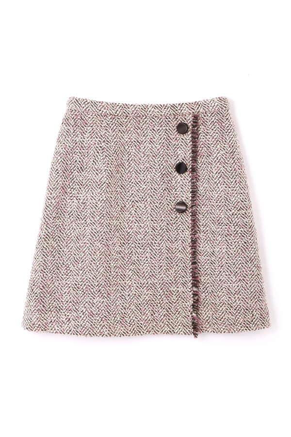 ラメヘリンボーンツィード台形スカート