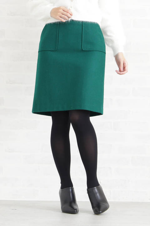 【先行予約 11月下旬-12月上旬入荷予定】レザーリボンポケットタイトスカート