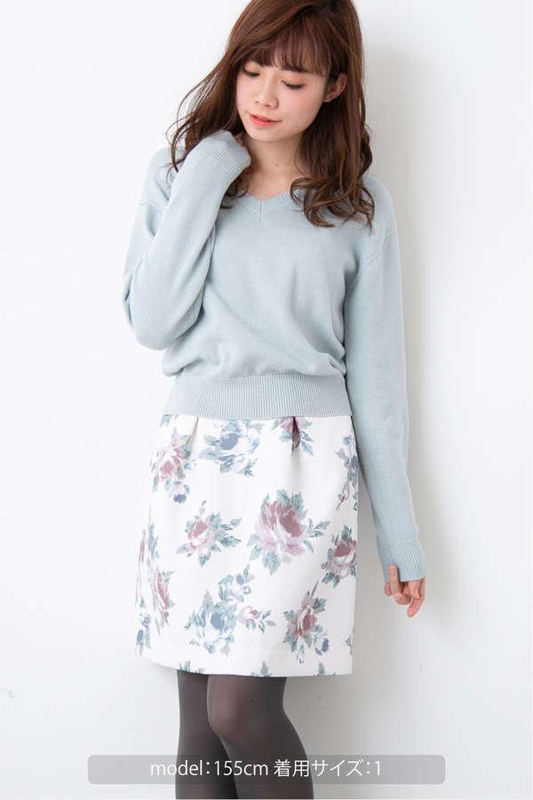 マトラッセフラワープリントコクーンスカート