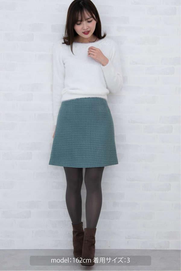 カラーロービングピケ台形スカート