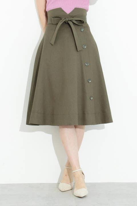 サイドボタンフレアースカート