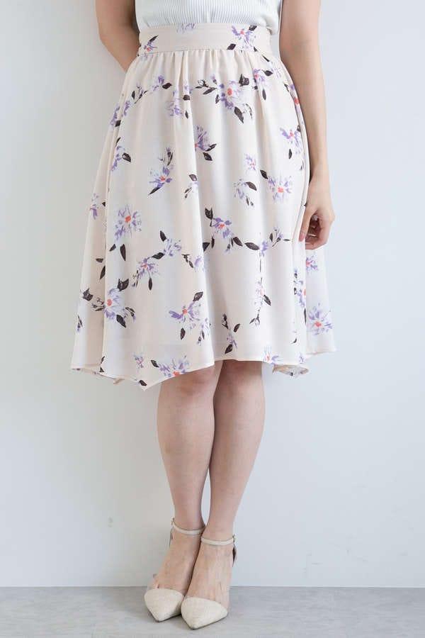 ペインティングフラワーアシンメトリースカート