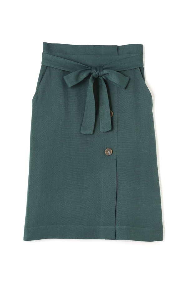 サイド釦リボンベルトタイトスカート