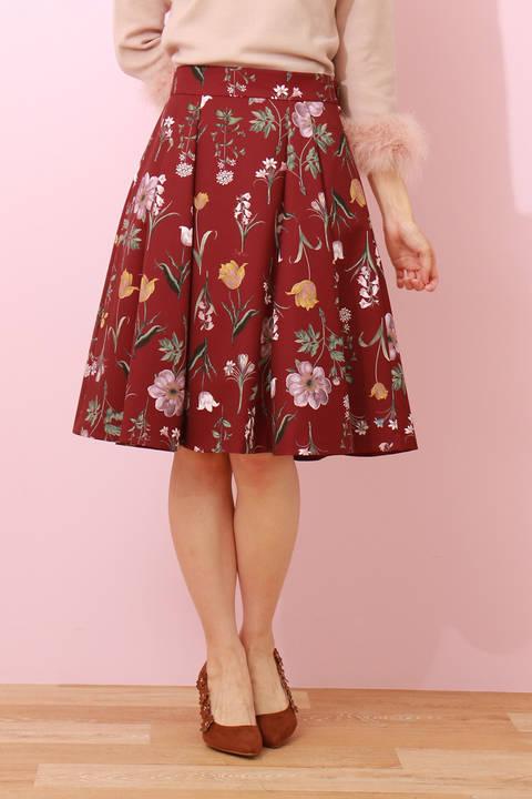 【追加生産:先行予約_9月下旬-10月上旬入荷予定】オータムボタニカルプリントフレアースカート