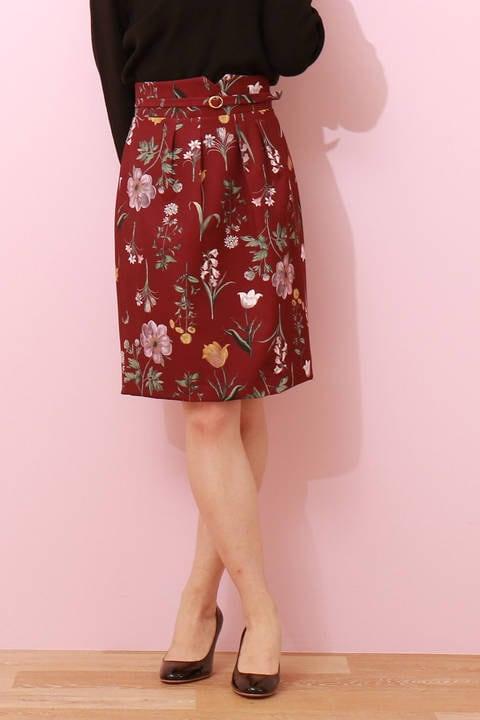 【追加生産:先行予約_9月下旬-10月上旬入荷予定】オータムボタニカルプリントタイトスカート