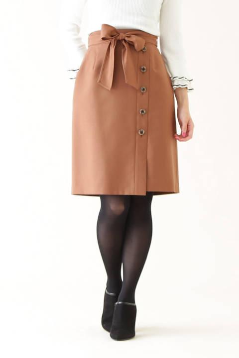 サキソニーストレッチサイドボタンスカート