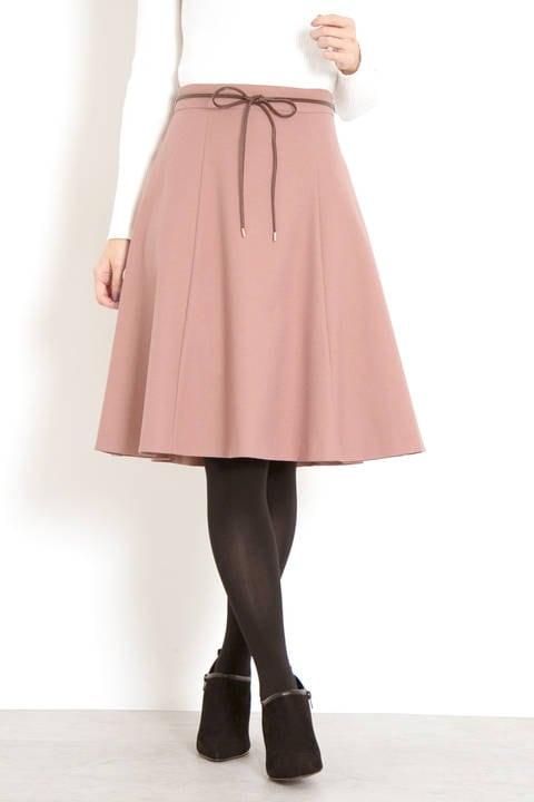 サキソニーストレッチ合皮リボンスカート