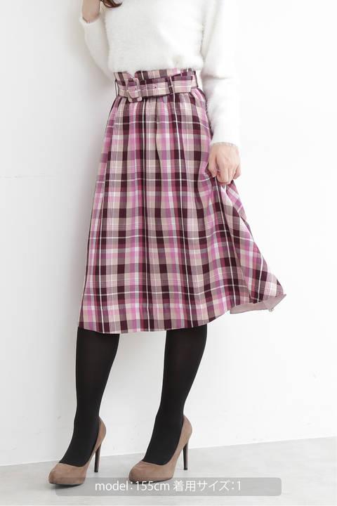 プロビスタータンチェックフレアースカート