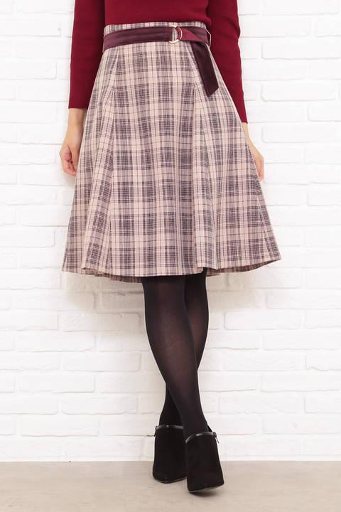 ベロアベルト立体フレアースカート