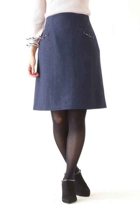 ビジュー調ポケットスカート